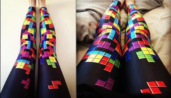 pants tetris leggings pattern video game colorful