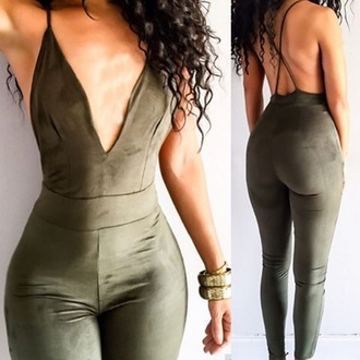 jumpsuit backless suede sexy tight khaki plunge v neck romper army green green fashion pretty cute cute dress cute outfits sexy jumpsuit girly girl girly wishlist olive green velvet hot style low cut summer free vibrationz