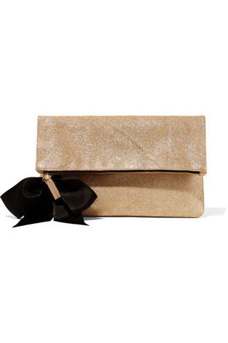 bow embellished clutch gold suede bag