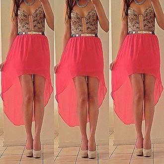 dress skirt long skirt skirt shorter in the front pink skirt golden belt lace top