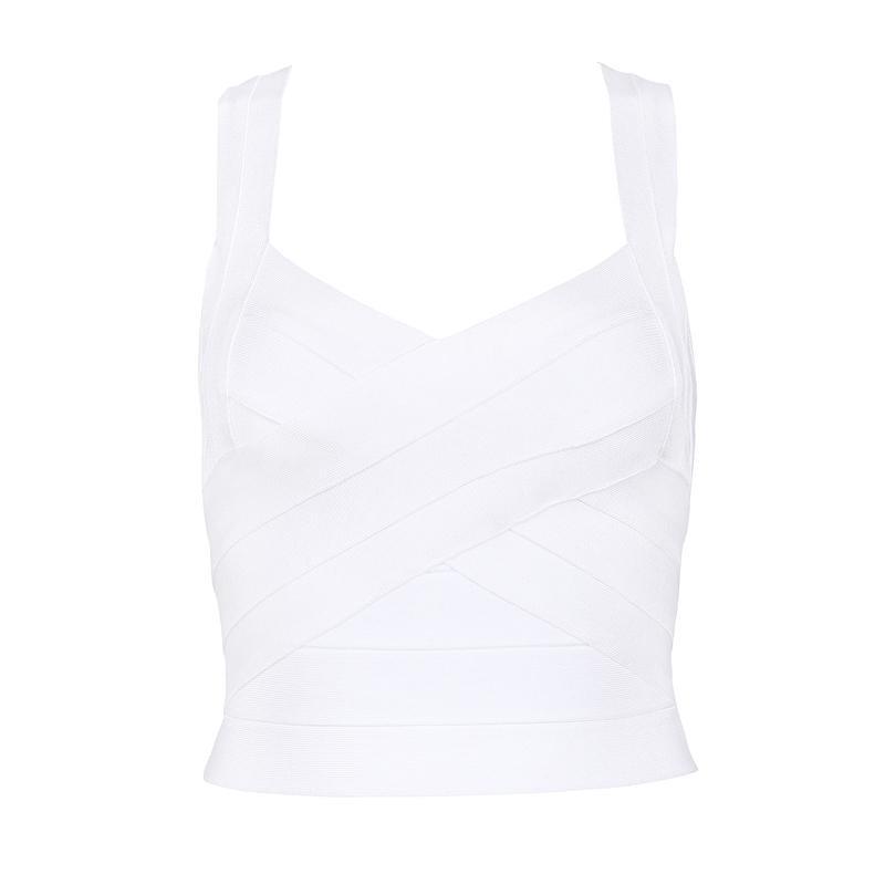 Mykia white bandage crop top