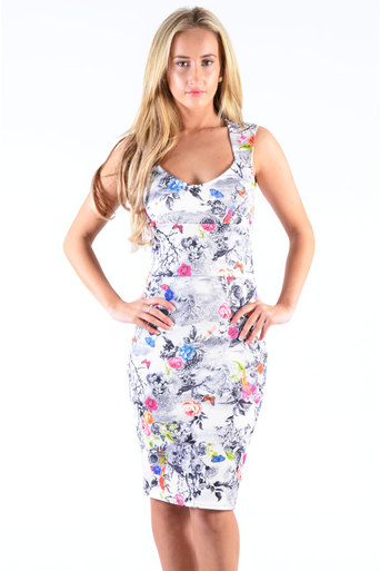 Ladies Orrick Back Cut-Out Floral Bird Print Midi Dress at Pop Couture UK
