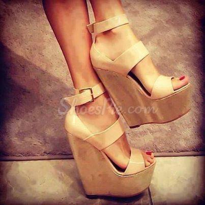 Attractive PU Cut-Outs Wedge Sandals
