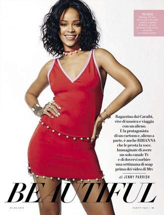 rihanna summer outfits red top red skirt editorial