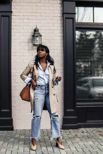 millennielle blogger coat jeans shirt shoes bag blue shirt trench coat pumps fall outfits