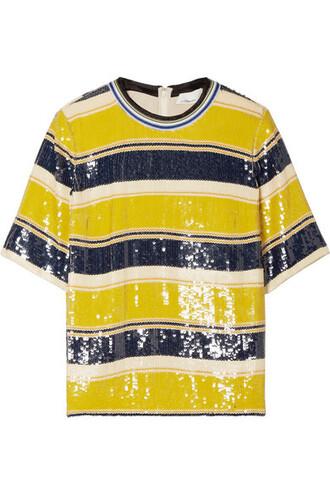 t-shirt shirt silk yellow top