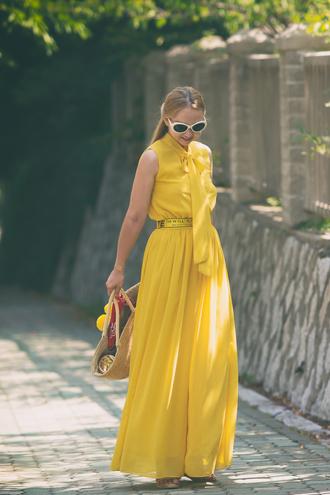 jumpsuit yellow jumpsuit tumblr yellow wide-leg pants bag woven bag sunglasses