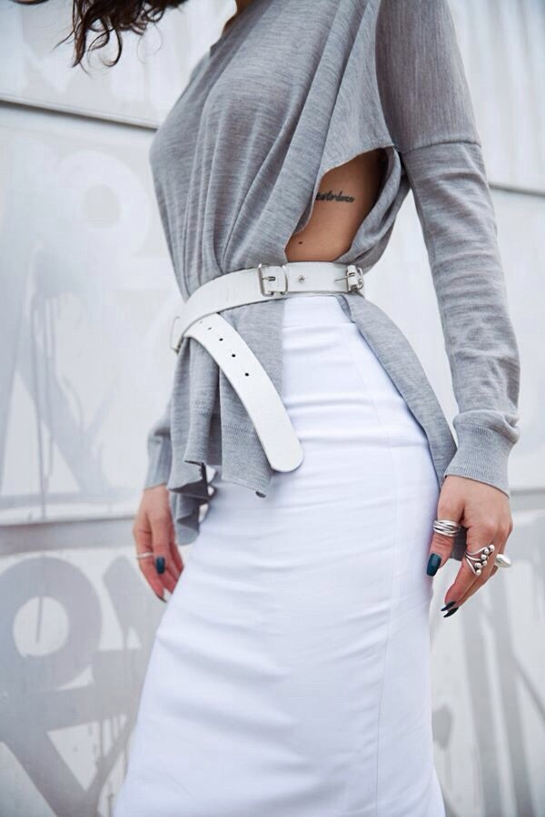 blouse long sleeve shirt shirt sweater white belt grey cutout sweater white pencil skirt sexy sweater skirt grey top fall outfits belt white pencil skirt nail polish tattoo