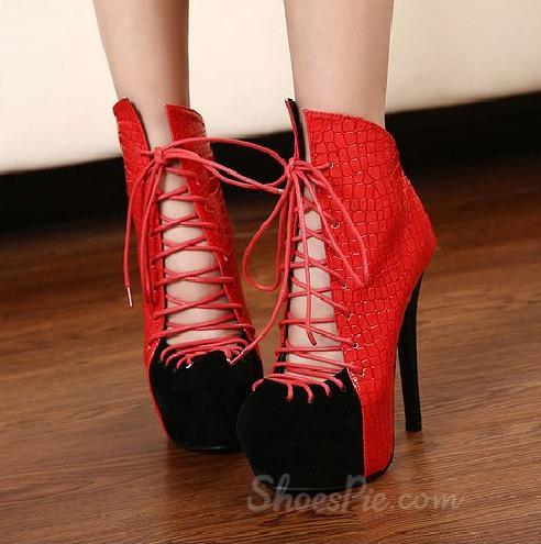 Sexy Matching Color Cross Lace-up Platform Stiletto Heels