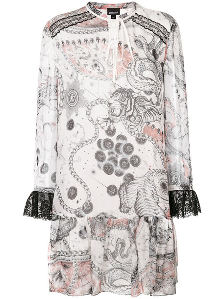 just cavalli dress shift dress women white silk