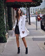 coat,white coat,skirt,mini skirt,leather skirt