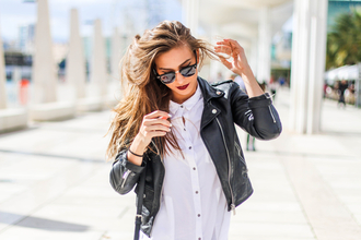 eliska h. time to fit | fashion & fitness blogger perfecto black leather jacket white shirt