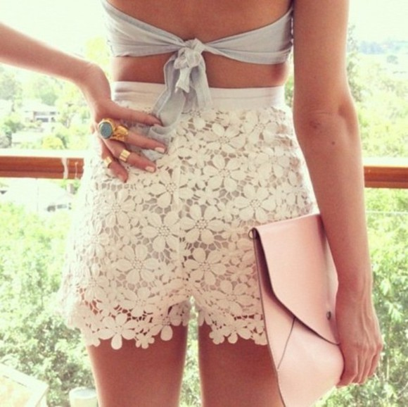 shorts white embroidered cute summer lace shorts flowered shorts white shorts dress blouse shirt crochet flower print white lace shorts lace flower short ring gold clutch top look clothes floral girly bag pants cute pants high waisted short jewels floral lace shorts flowers skirt