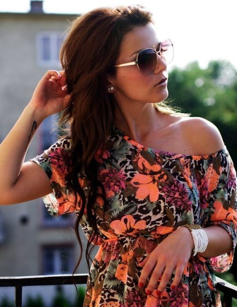 floral sunglasses dress blouse