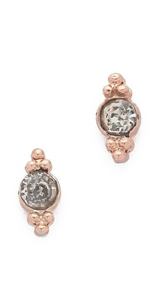 mini rose gold rose clear earrings stud earrings gold jewels