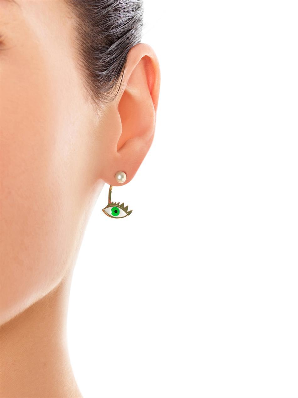 Pearl, gold and enamel single earring | Delfina Delettrez | MA...