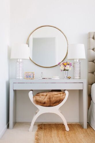 home accessory mirror fur pillow makeup table bedroom