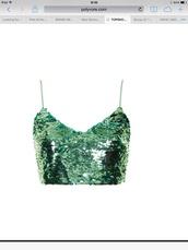 top,green,sequins,top shop,crop tops