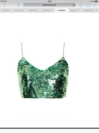 top green sequin top shop crop tops