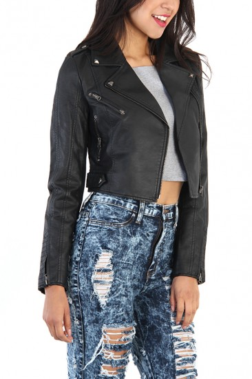 LoveMelrose.com From Harry & Molly   Studded Leather Motorcycle Jacket - Black