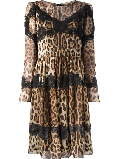 Dolce & Gabbana Leopard And Lace Dress - Biedermann En Vogue - Farfetch.com