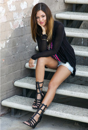 sandals,heels,wedges,wedge sandals,strappy sandals,strappy,black cardigan,light,tribal pattern top,denim shorts,hipster,girl,girly,cool,hot