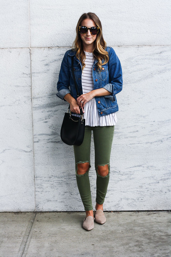 twenties girl style blogger jacket t-shirt jeans sunglasses bag denim jacket loafers green pants striped top fall outfits