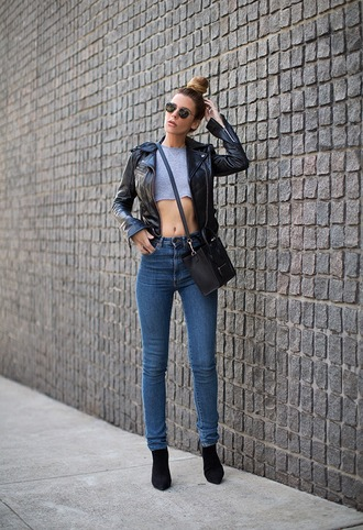 native fox blogger sunglasses crop tops leather jacket jacket top bag shoes