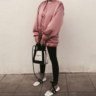 always judging blogger bomber jacket pink bomber jacket black jeans balenciaga ballet flats