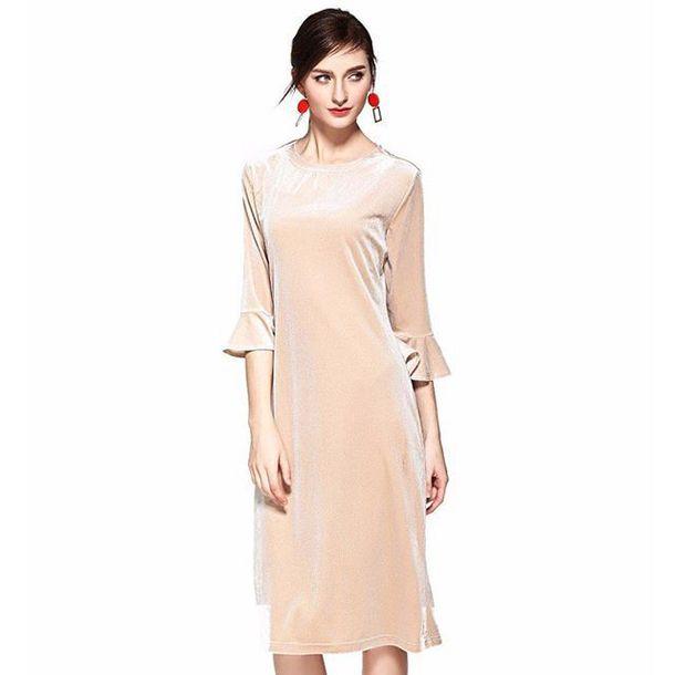03720bc68855 dress velvet velvet dress flounce sleeve knee length dress midi dress free  shipping pink dress elegant