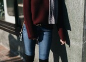sweater,burgundy,black,winter outfits,dark red,bordeau red,red,white,winter sweater
