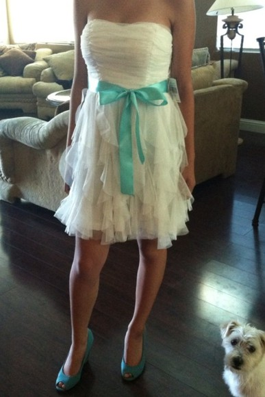 dress short dress white dress homecoming aqua ribbon shoes