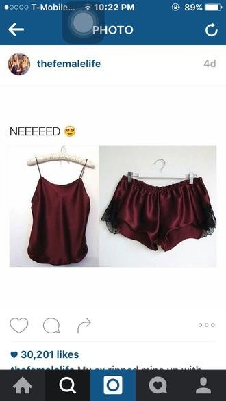 pajamas burgundy shorts silk spaghetti strap