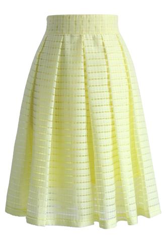 skirt grids and pleats midi skirt in yellow chicwish yellow skirt midi skirt pleated skirt summer skirt summer skirts