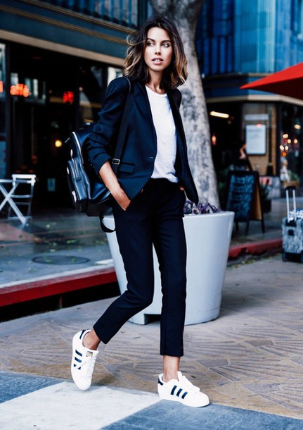 shoes white shirt black blazer black trousers white adidas sneakers blogger jacket