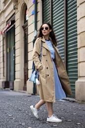 coat,camel coat,camel,skirt,blue skirt,midi skirt,top,sneakers,white sneakers,trench coat