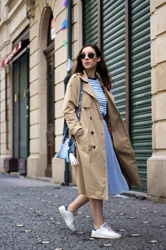 coat camel coat camel skirt blue skirt midi skirt top sneakers white sneakers trench coat