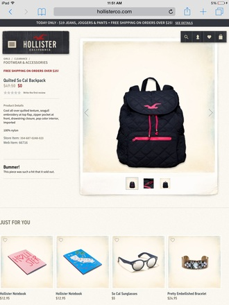 bag black bag pink bag hollister quilted bag