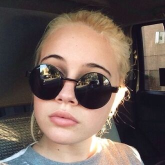 sunglasses glasses round black beatrice miller