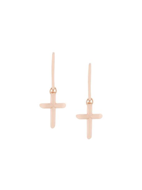 cross women earrings gold yellow orange jewels