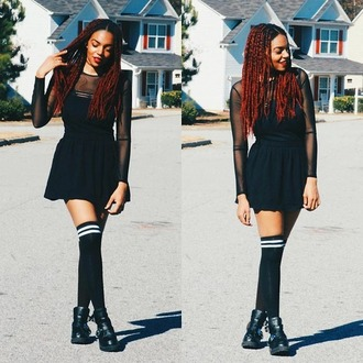 socks knee high socks girl grunge black white stripes black sheer dress over the knee socks black boots blogger