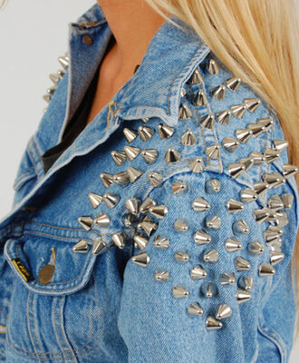 jacket denim jacket spikes blue jean jacket