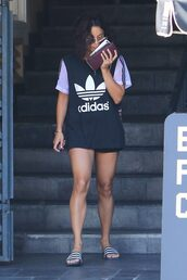 top,adidas,slide shoes,vanessa hudgens,tunic,oversized t-shirt,t-shirt,adidas originals