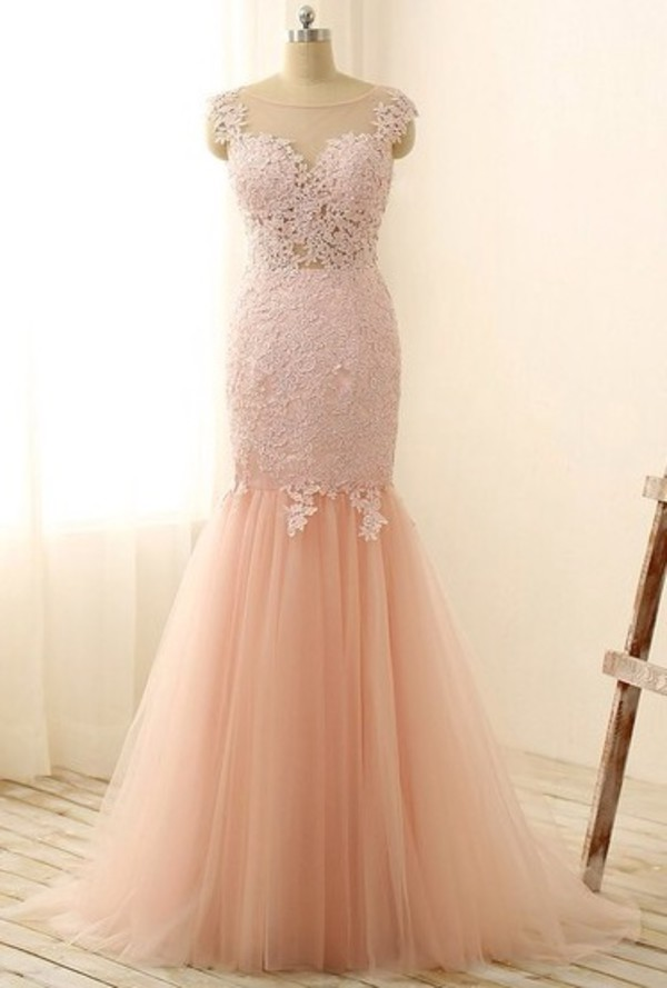 Perfect Scoop Neck Pink Tulle with Appliques Lace Trumpet ...