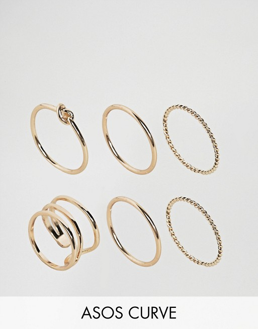 ASOS CURVE Pack of 6 Twist & Knot Rings at asos.com