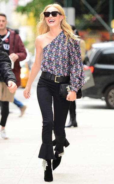 blouse one shoulder pants kate bosworth streetstyle fall outfits floral