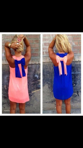 dress blue dress Bow Back Dress pink dress casual dress