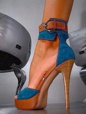 shoes,high heels,blue heels,platform shoes,platform heels,platform wood heel