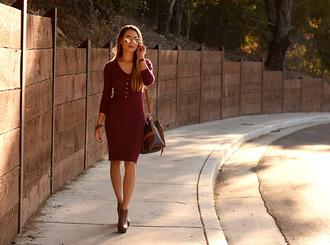hapa time blogger sunglasses burgundy dress fall dress