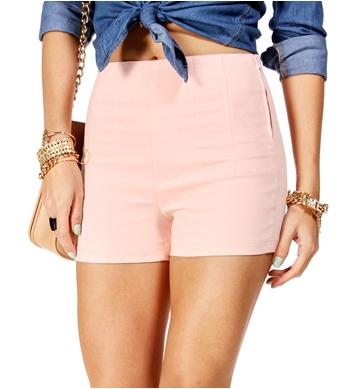 Light Blush High Waisted Side Zip Shorts